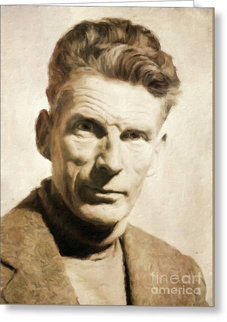 Samuel Beckett, Literary Legend By Mary Bassett Greeting Card by Mary Bassett