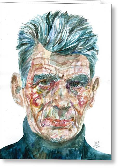 Greeting Card featuring the painting Samuel Beckett Watercolor Portrait.10 by Fabrizio Cassetta