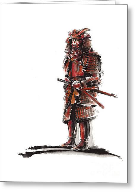 Samurai Armor Greeting Card by Mariusz Szmerdt