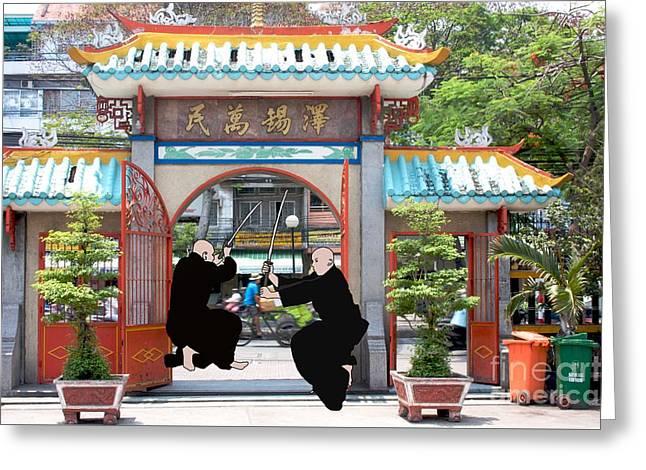 Samurai Ho Chi Minh City Greeting Card by Priscilla Wolfe