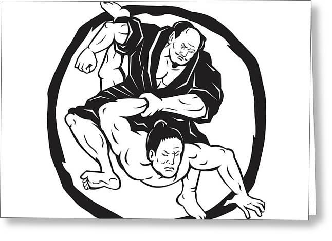 Samurai Jiu Jitsu Judo Fighting Drawing Greeting Card