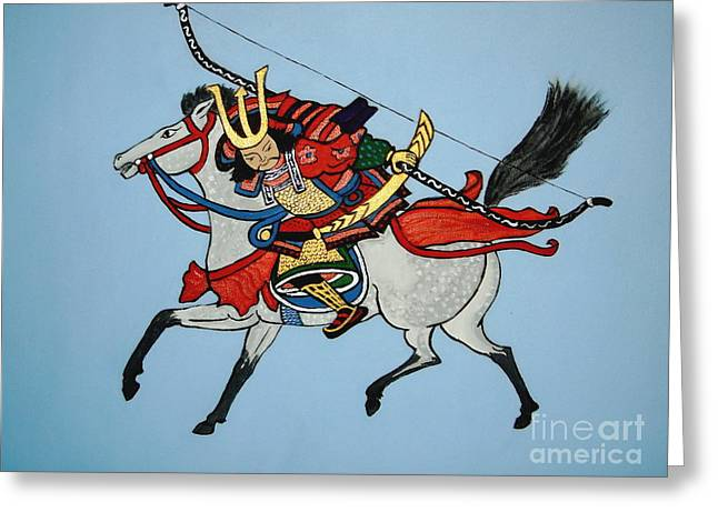 Greeting Card featuring the painting Samurai Rider by Stephanie Moore
