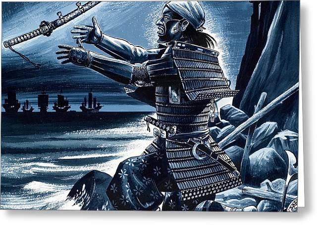 Samurai Warrior Greeting Card by Dan Escott