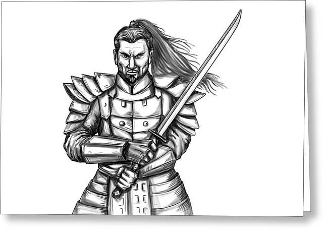 Samurai Warrior Fight Stance Tattoo Greeting Card
