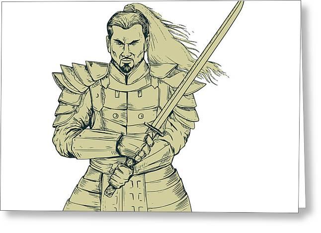 Samurai Warrior Swordfight Stance Drawing Greeting Card by Aloysius Patrimonio
