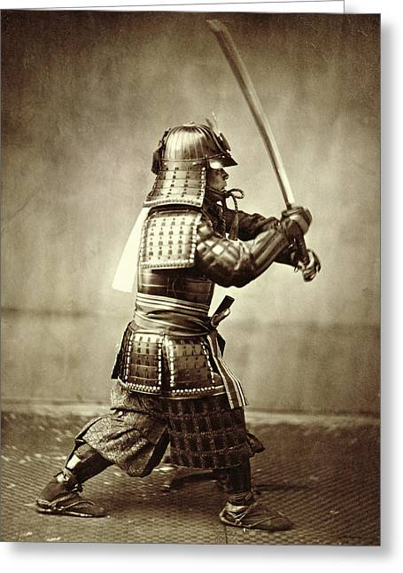 Orient Photographs Greeting Cards - Samurai with raised sword Greeting Card by F Beato