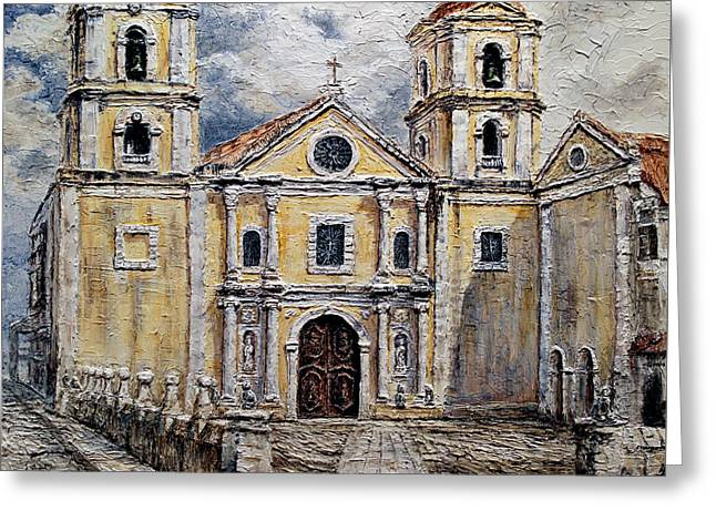 Greeting Card featuring the painting San Agustin Church 1800s by Joey Agbayani