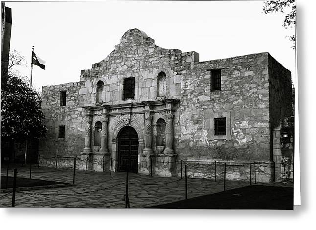 Greeting Card featuring the photograph San Antonio Alamo In Black And White by Gregory Ballos