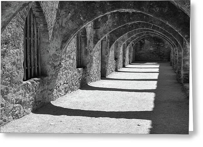 Greeting Card featuring the photograph San Antonio Mission San Jose - Black And White by Gregory Ballos