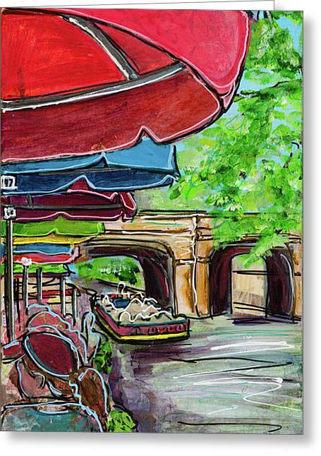 Greeting Card featuring the painting San Antonio River Walk Cafe by TM Gand