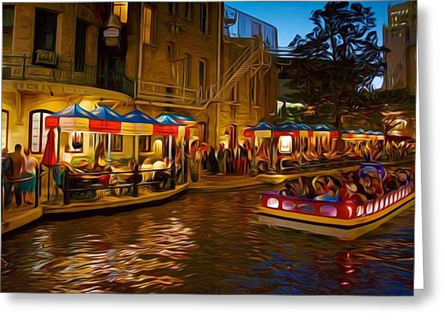 San Antonio River Walk Greeting Card by Larry Lamb