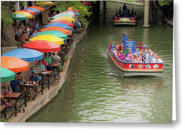 San Antonio Riverwalk Umbrellas 1x1 Greeting Card