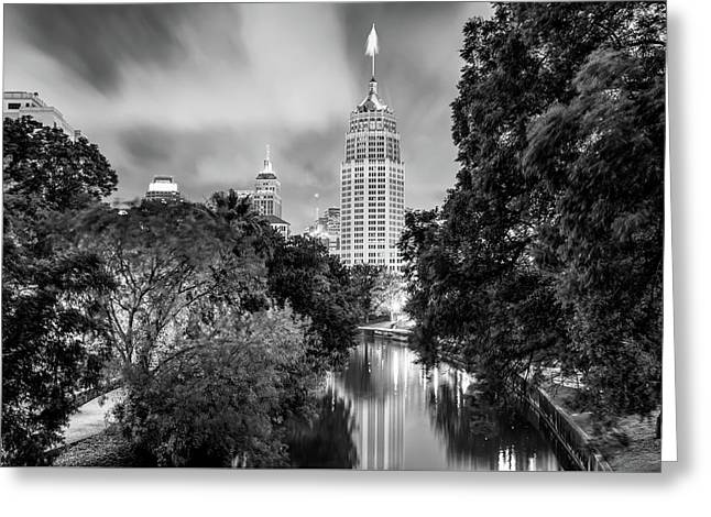 San Antonio Texas Cityscape Skyline At Dawn - Black And White Greeting Card