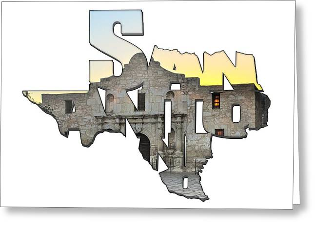 San Antonio Texas Typography - An Alamo Sunrise Greeting Card by Gregory Ballos