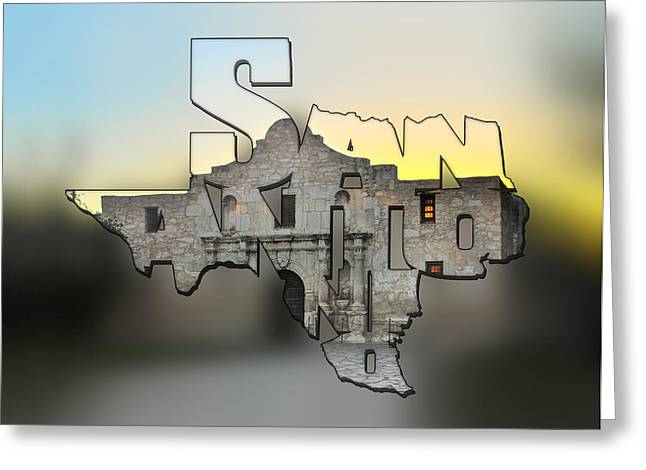 San Antonio Texas Typography Blur - An Alamo Sunrise Greeting Card by Gregory Ballos