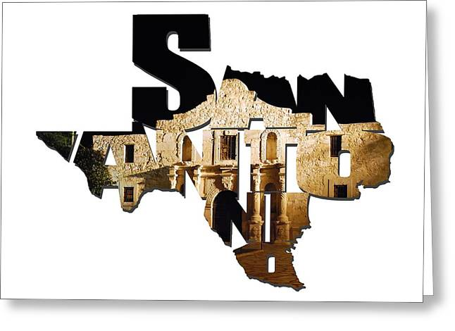 San Antonio Texas Typography - The Alamo At Night Greeting Card by Gregory Ballos