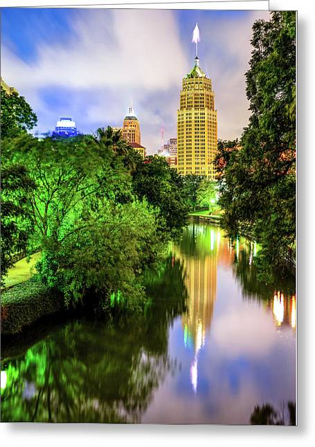 San Antonio Tower Life Building On The Riverwalk Greeting Card