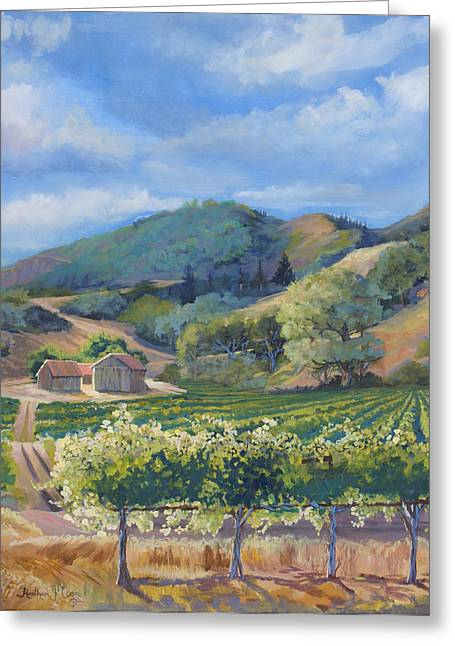 Grapevines Pastels Greeting Cards - San Antonio Vineyard Greeting Card by Heather Coen