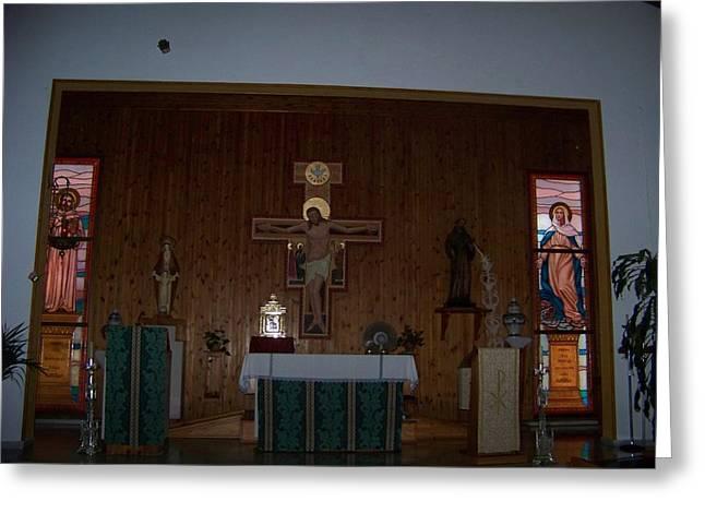 San Bernardo Abad,la Virgen Milagrosa Greeting Card
