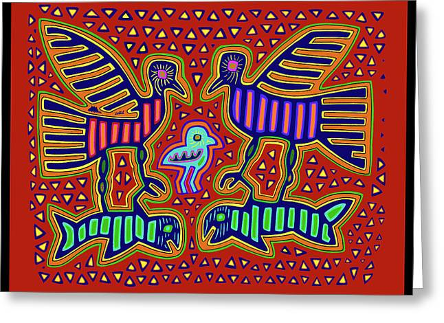 Greeting Card featuring the digital art San Blas Kuna Bird Family With Fish by Vagabond Folk Art - Virginia Vivier