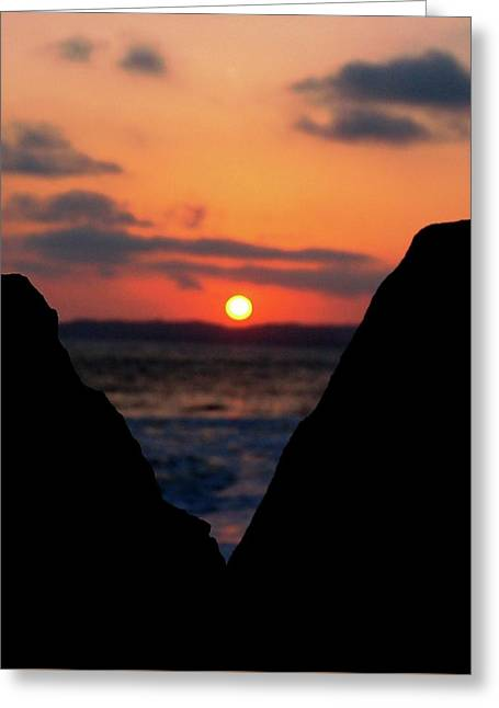 San Clemente Beach Rock View Sunset Portrait Greeting Card by Matt Harang