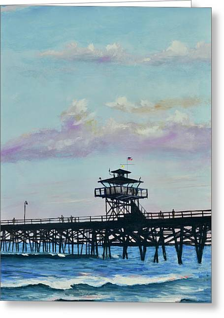 Greeting Card featuring the painting San Clemente Evening by Mary Scott