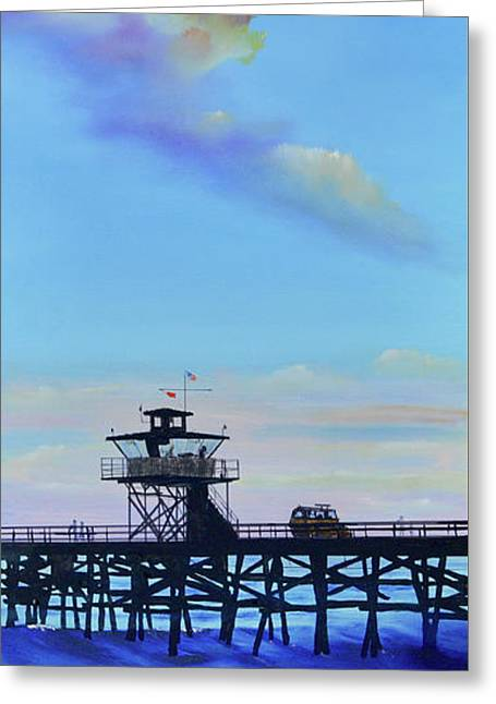 Greeting Card featuring the painting San Clemente High Surf by Mary Scott