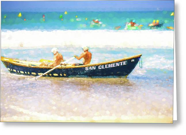 San Clemente Lifeboat Race Watercolor Greeting Card