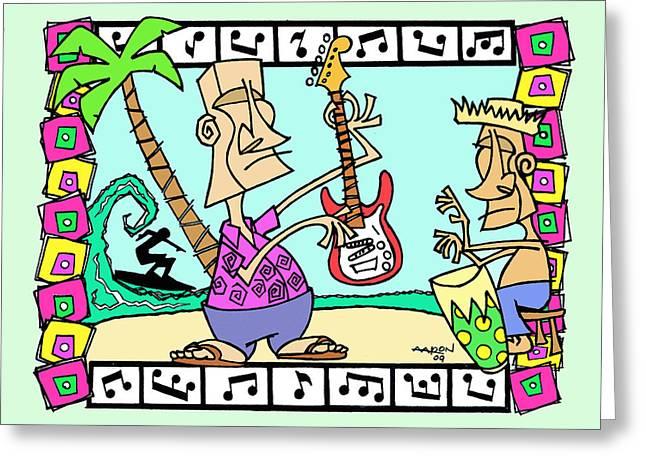 San Clemente Ocean Festival Tiki Greeting Card by Aaron Bodtcher