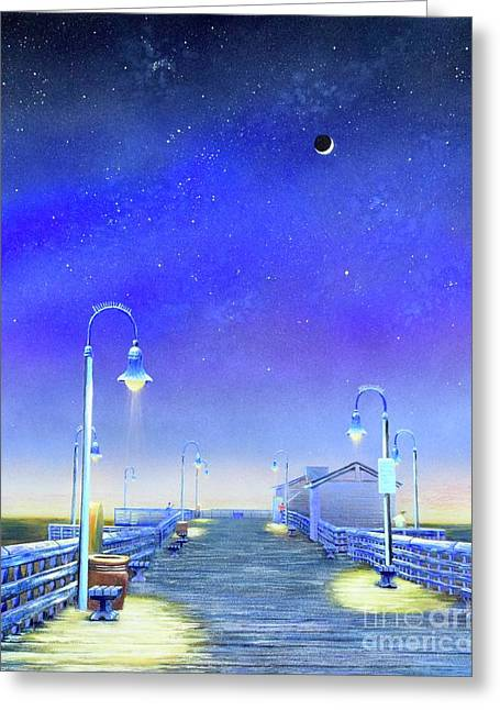 Greeting Card featuring the painting San Clemente Pier by Mary Scott