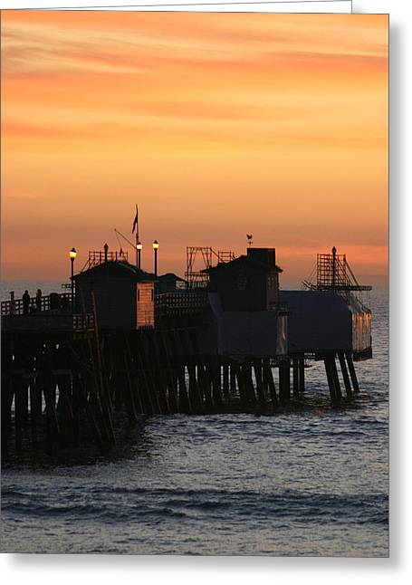 San Clemente Pier Sunset Greeting Card by Brad Scott
