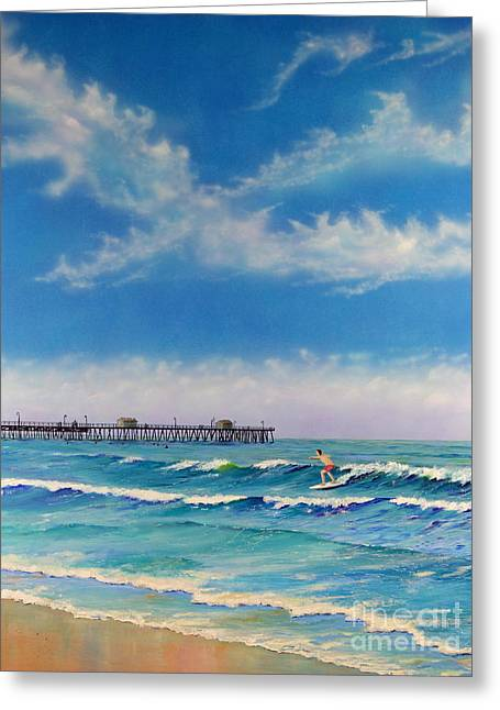 Greeting Card featuring the painting San Clemente Surf by Mary Scott