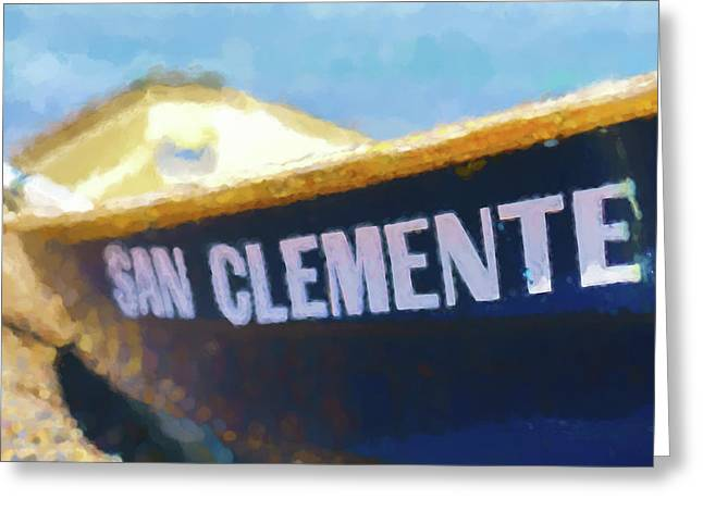 San Clemente To The Rescue  Lifeguard Boat Watercolor 1 Greeting Card