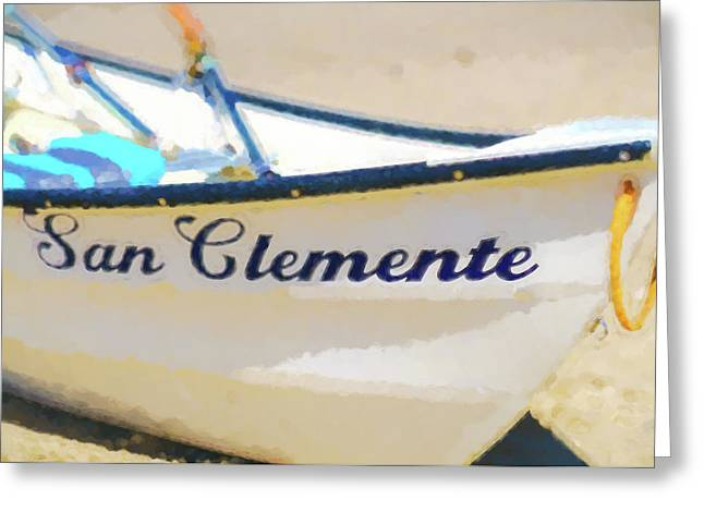 San Clemente To The Rescue  Lifeguard Boat Watercolor 2 Greeting Card