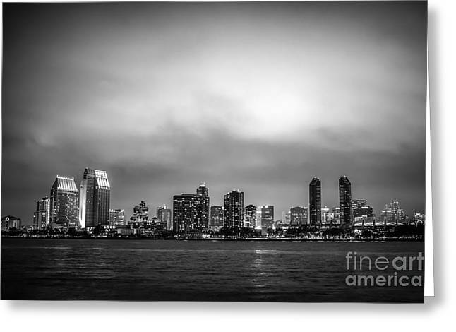 San Diego At Night Black And White Photo Greeting Card by Paul Velgos