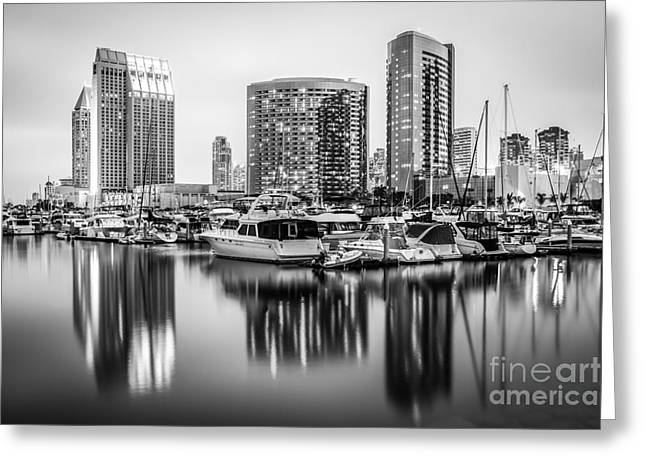 San Diego At Night Black And White Picture Greeting Card by Paul Velgos