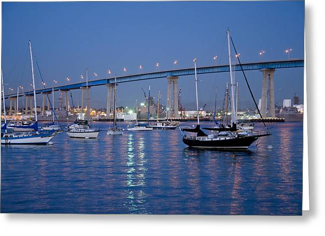 San Diego Bay At Nightfall Greeting Card