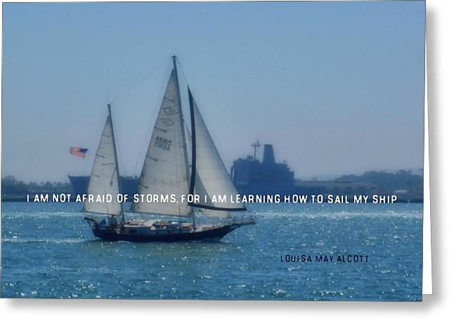 Greeting Card featuring the photograph San Diego Bay Quote by JAMART Photography