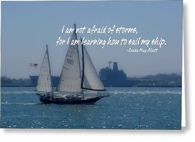 Alcott Greeting Cards - SAN DIEGO BAY quote Greeting Card by JAMART Photography