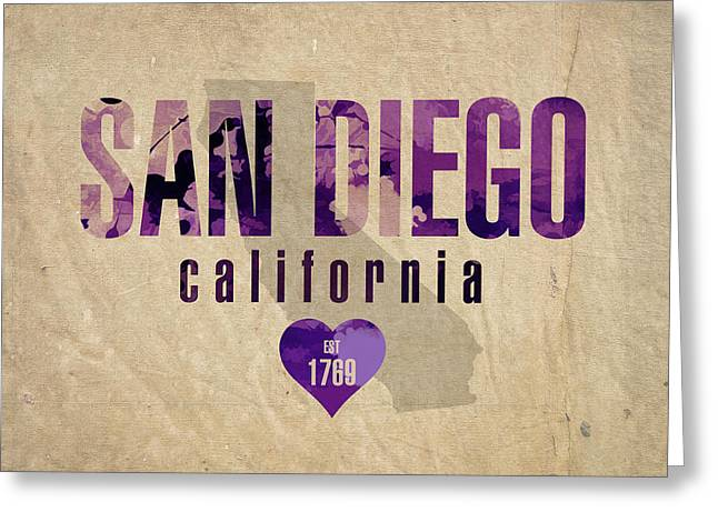 San Diego California City Love Established 1789 Series 004 Greeting Card by Design Turnpike