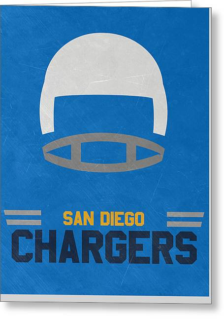 San Diego Chargers Vintage Art Greeting Card by Joe Hamilton