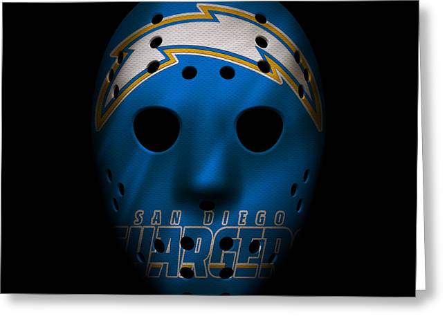 San Diego Chargers War Mask 3 Greeting Card by Joe Hamilton