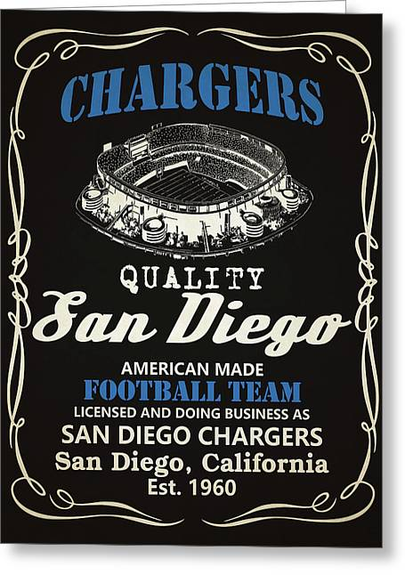 San Diego Chargers Whiskey Greeting Card