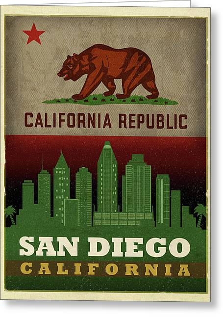 San Diego City Skyline State Flag Of California Art Poster Series 021 Greeting Card