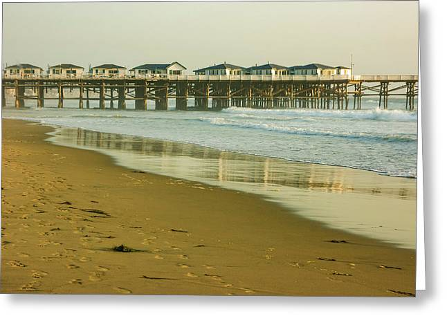 San Diego Crystal Pier Sunset Greeting Card by Georgia Mizuleva