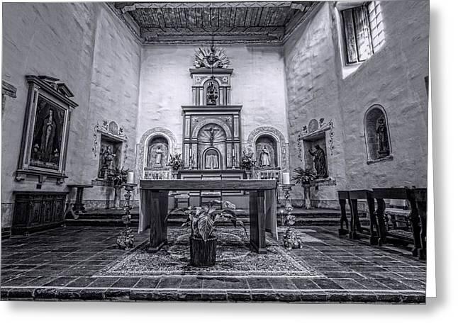 San Diego De Alcala Altar - Bw Greeting Card