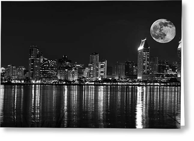 San Diego Full Moon Panorama Greeting Card by Art K