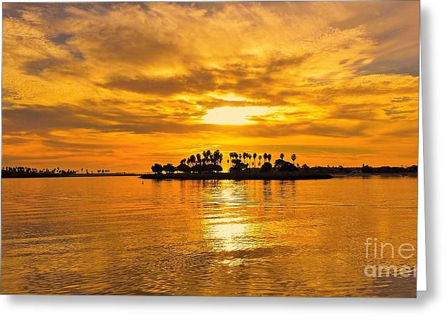 San Diego Golden Sky By Jasna Gopic Greeting Card