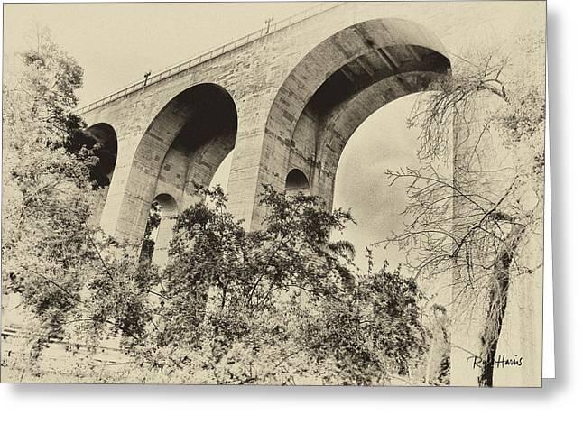 San Diego Historical Cabrillo Bridge Greeting Card by Russ Harris