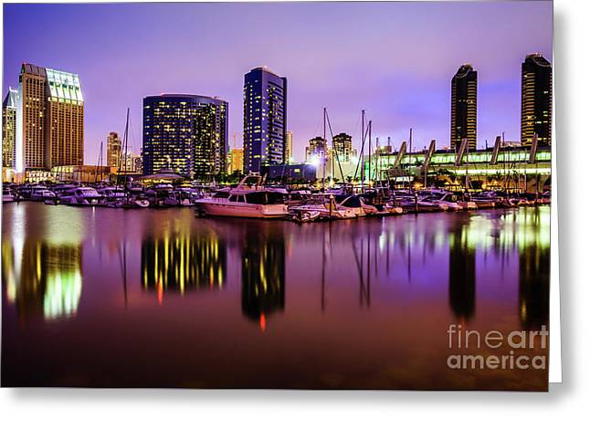 San Diego Marina At Night With Luxury Yachts Greeting Card by Paul Velgos